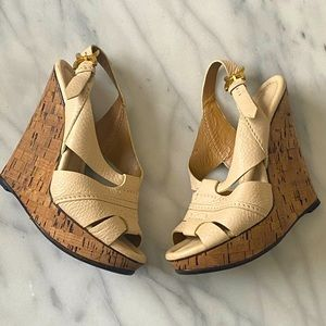 Chloe Leather Renan Cork Platform Wedges 37.5